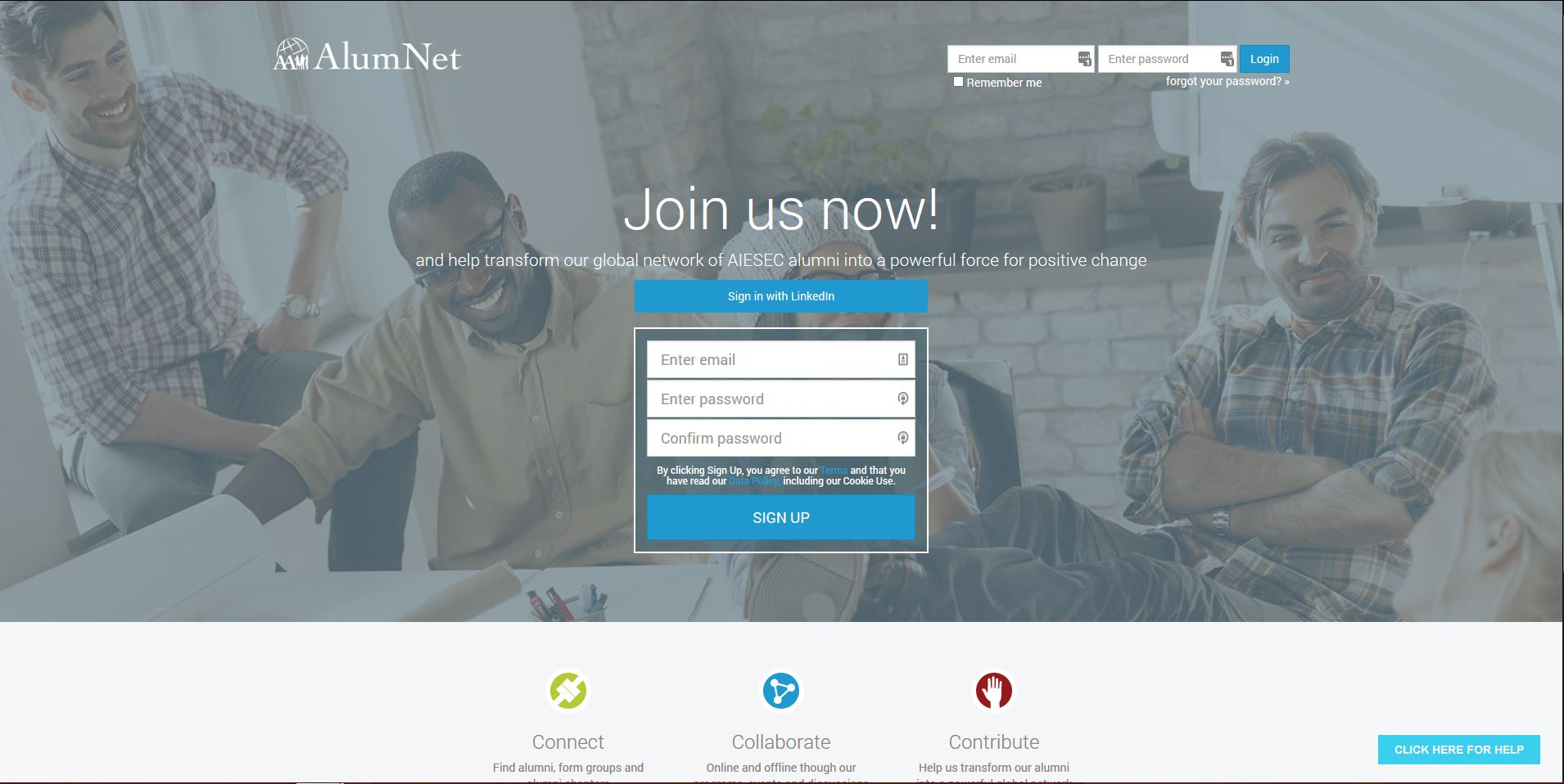 Capture of the Alumnet website